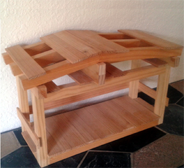 Picture of a wooden stable for a Christmas Nativity Scene built from plans