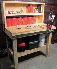 Plans on how to build a large 48 inch standing ammunition reloading bench