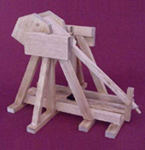 Working, tabletop model of a medieval trebuchet