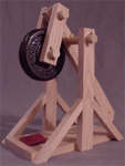 Trebuchet with weight plates for counterwieghts