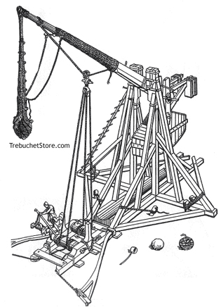 Trebuchet with its Arm Being Wound Down
